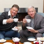 AFL football legends Michael Roberts and Tom Hafey enjoy house baked scones