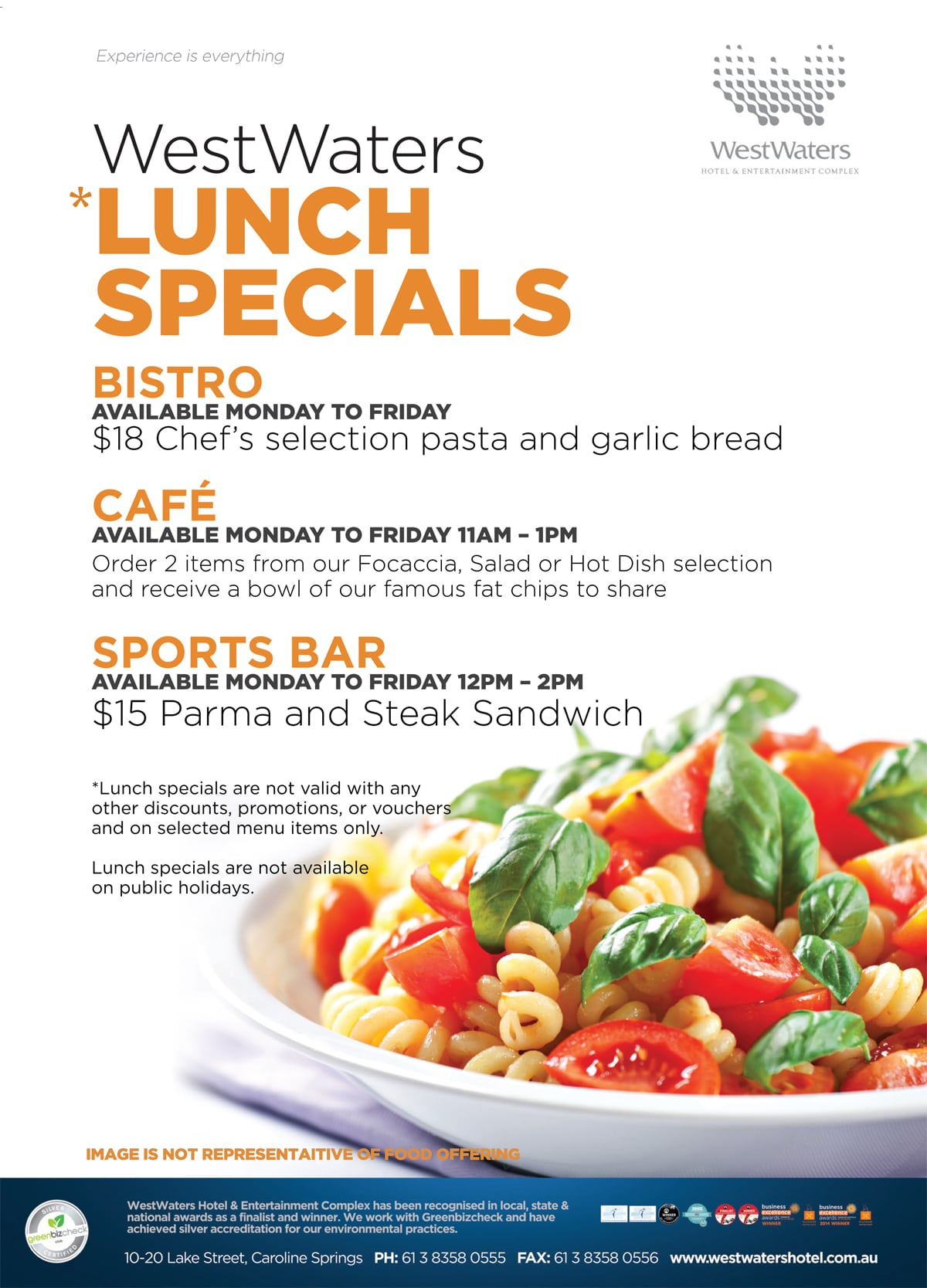 Lunch specials at westwaters hotel westwaters for Lunch specials