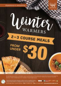 Winter Warmers 2-3 course meals from under $30